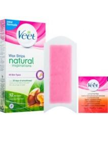 Veet Wax Strips Natural voskové depilačné pásiky s arganovým olejom 12 ks