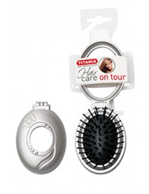 Skladacia kefa na vlasy so zrkadlom,strieborná